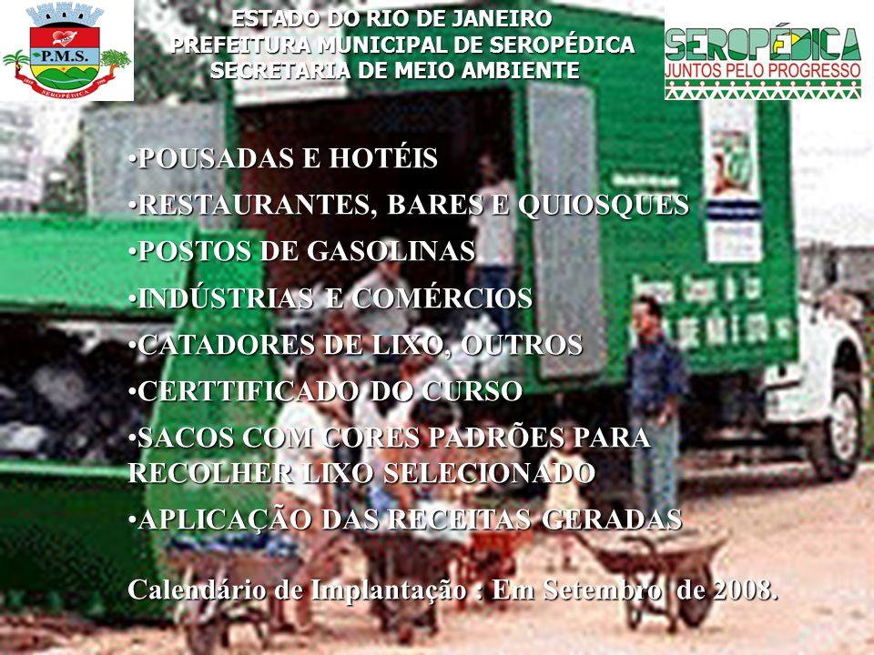 RESTAURANTES, BARES E QUIOSQUES POSTOS DE GASOLINAS