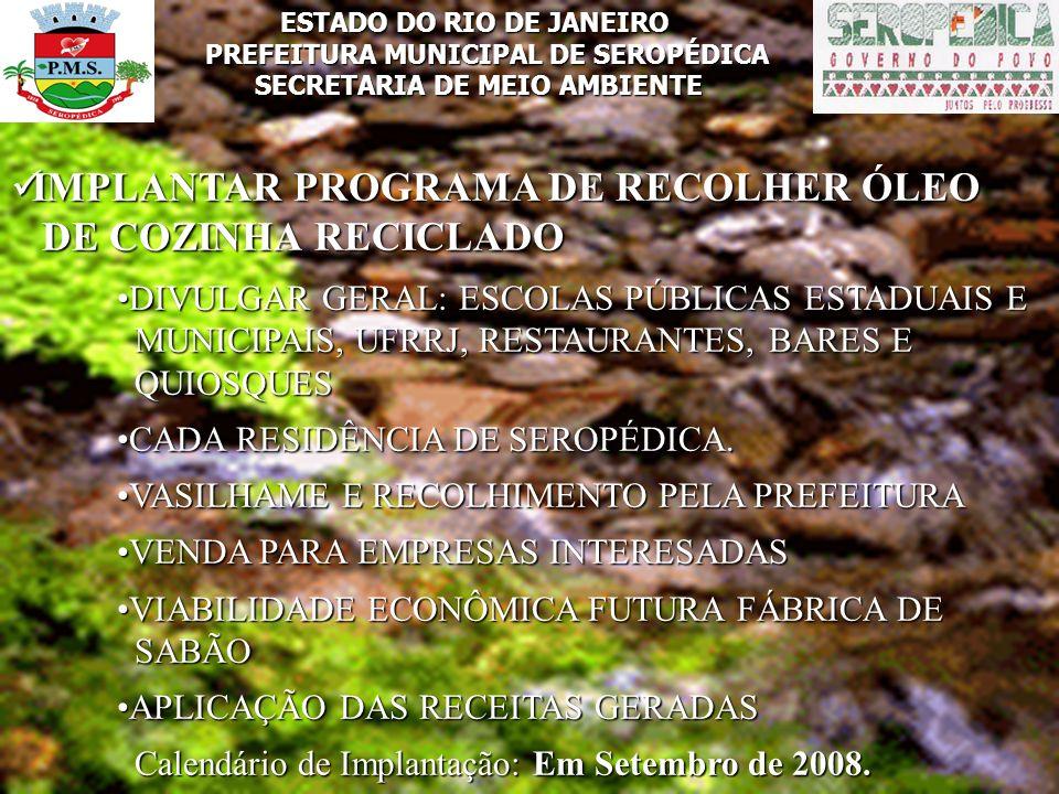 IMPLANTAR PROGRAMA DE RECOLHER ÓLEO DE COZINHA RECICLADO