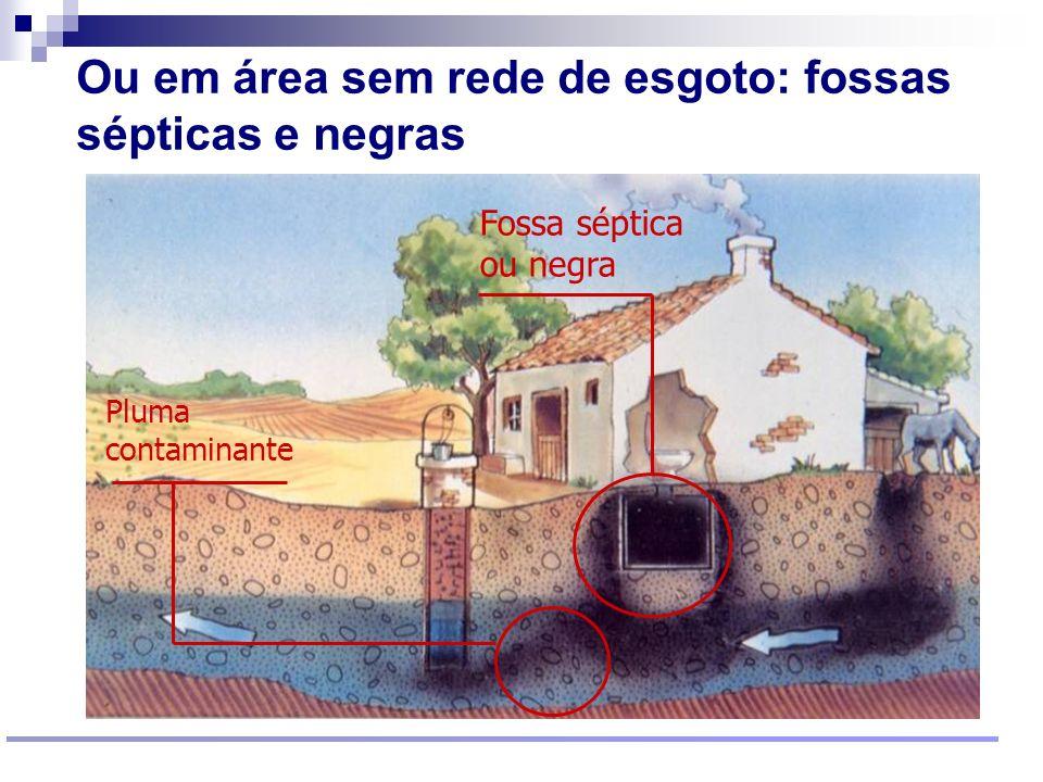 Ou em área sem rede de esgoto: fossas sépticas e negras