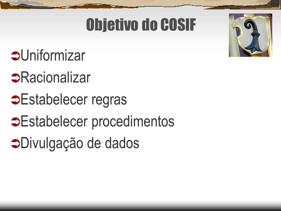 Objetivo do COSIF Uniformizar. Racionalizar. Estabelecer regras.