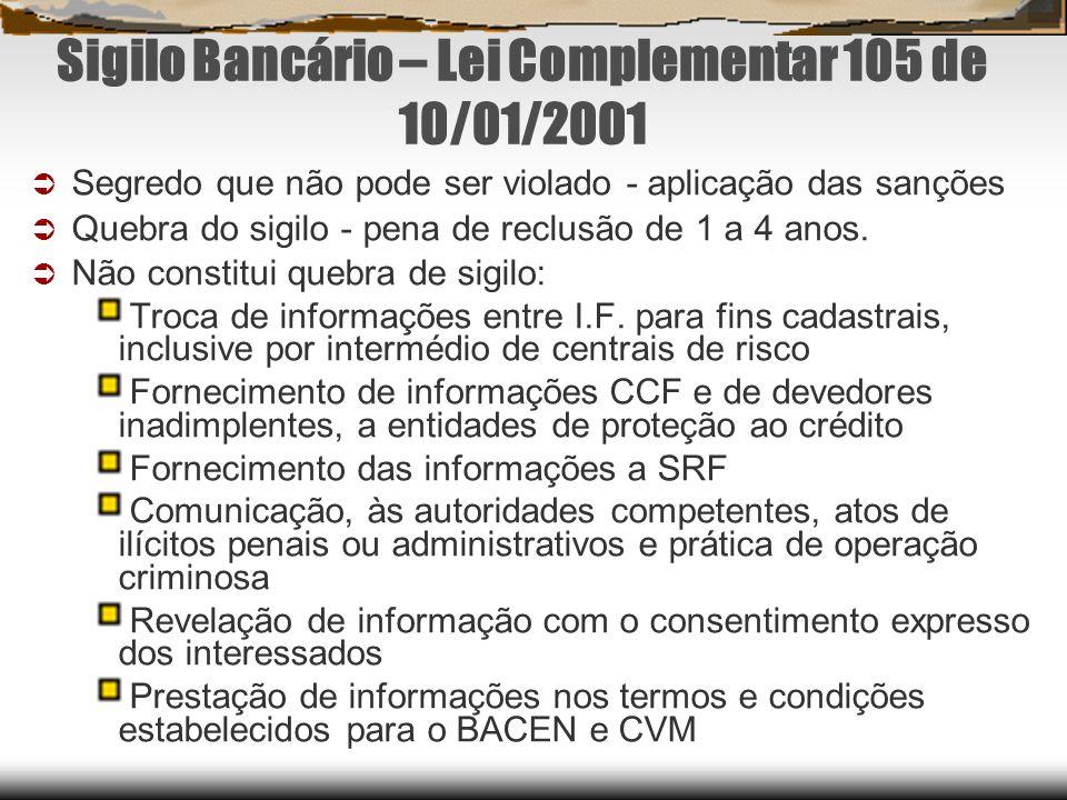 Sigilo Bancário – Lei Complementar 105 de 10/01/2001
