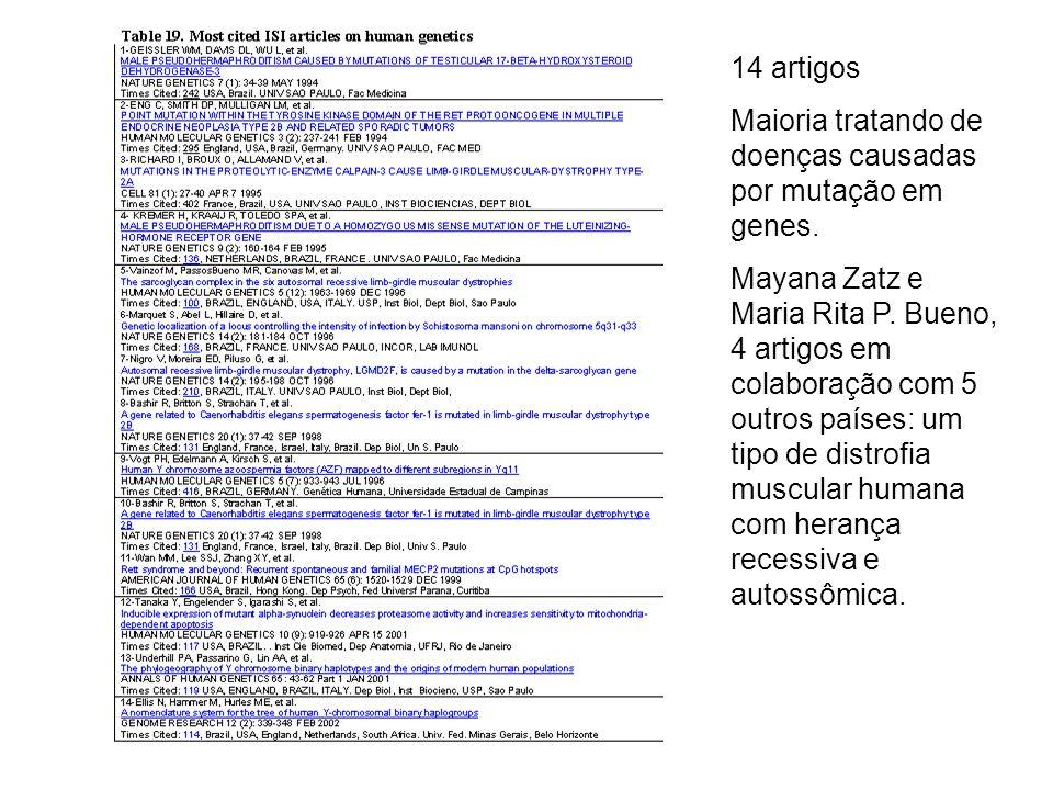 14 artigos Maioria tratando de doenças causadas por mutação em genes.