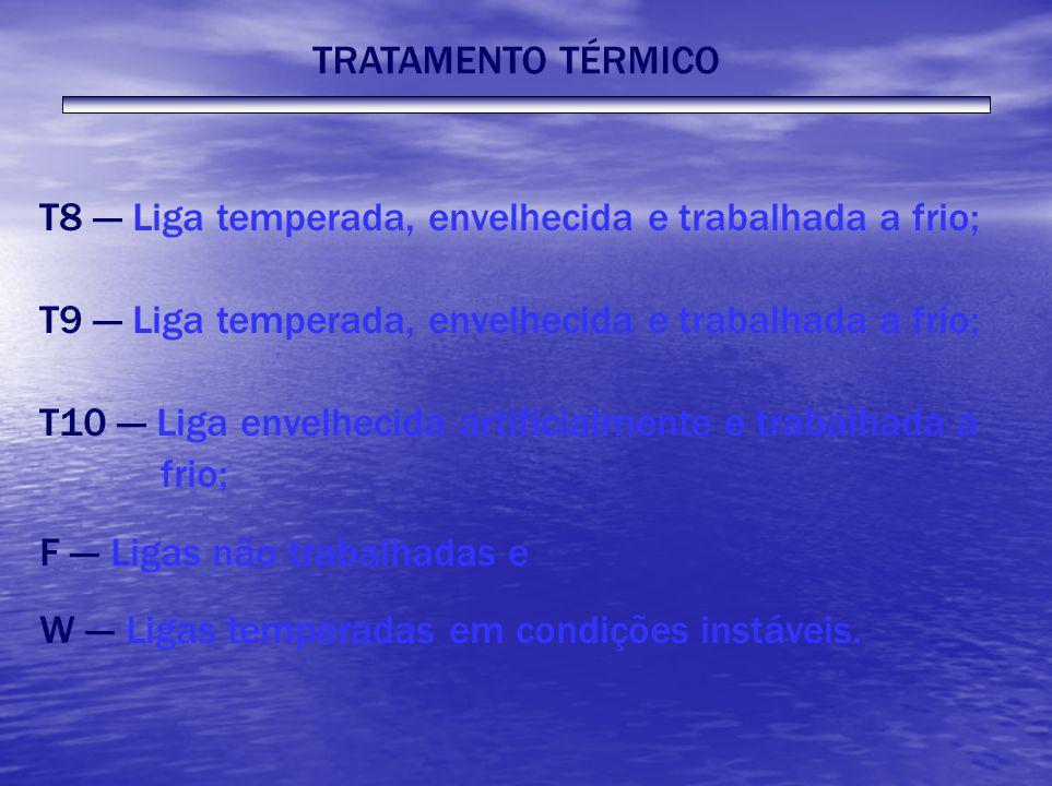TRATAMENTO TÉRMICOT8 --- Liga temperada, envelhecida e trabalhada a frio; T9 --- Liga temperada, envelhecida e trabalhada a frio;
