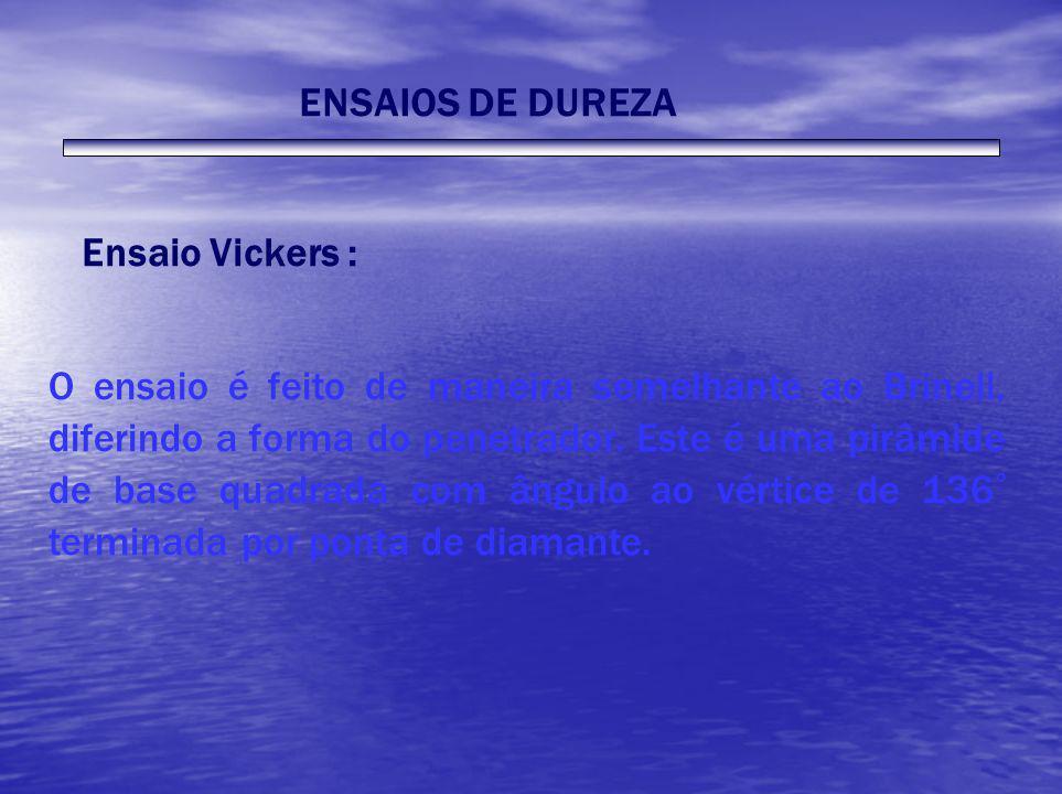 ENSAIOS DE DUREZAEnsaio Vickers :