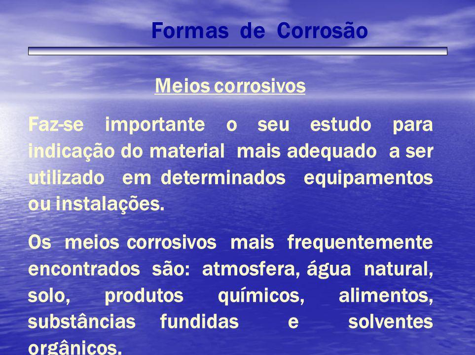 Formas de CorrosãoMeios corrosivos.