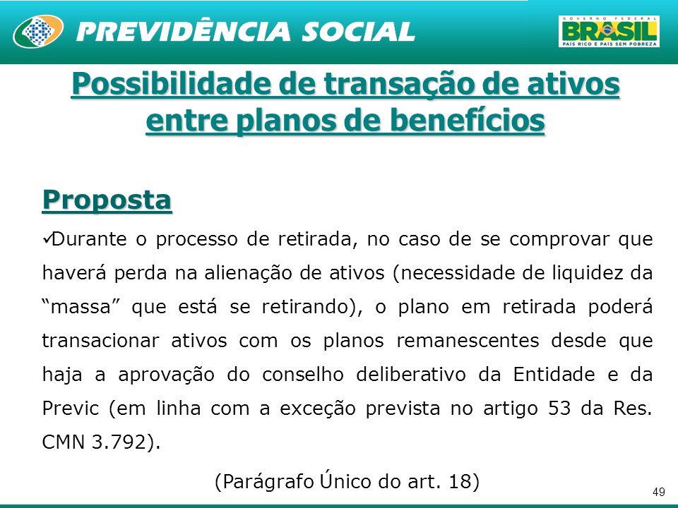 Possibilidade de transação de ativos entre planos de benefícios