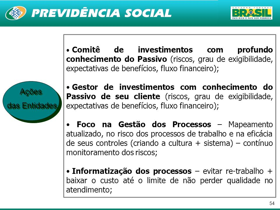 Comitê de investimentos com profundo conhecimento do Passivo (riscos, grau de exigibilidade, expectativas de benefícios, fluxo financeiro);