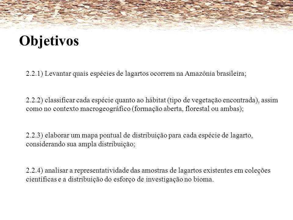 Objetivos 2.2.1) Levantar quais espécies de lagartos ocorrem na Amazônia brasileira;