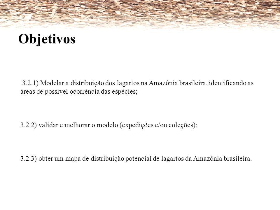 Objetivos 3.2.1) Modelar a distribuição dos lagartos na Amazônia brasileira, identificando as áreas de possível ocorrência das espécies;