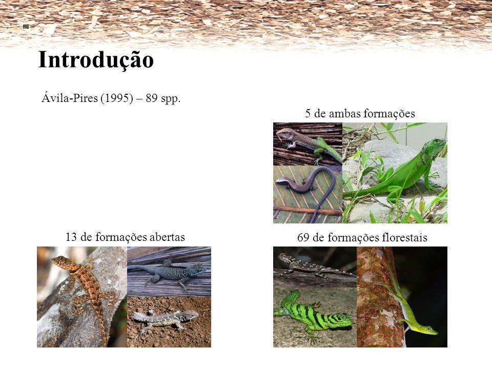Introdução Ávila-Pires (1995) – 89 spp. 5 de ambas formações