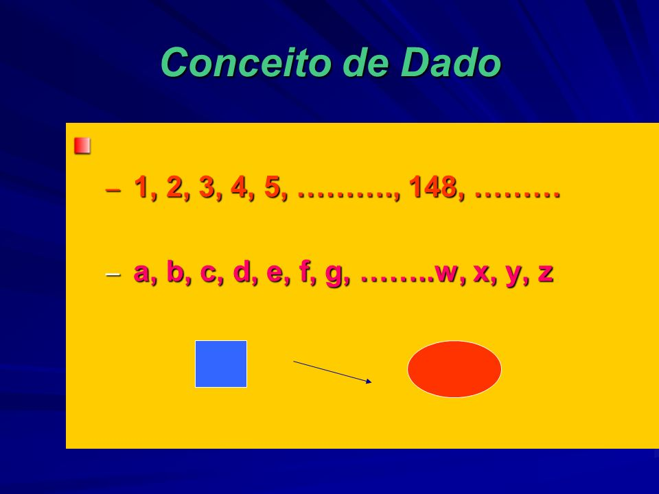 Conceito de Dado 1, 2, 3, 4, 5, ………., 148, ………