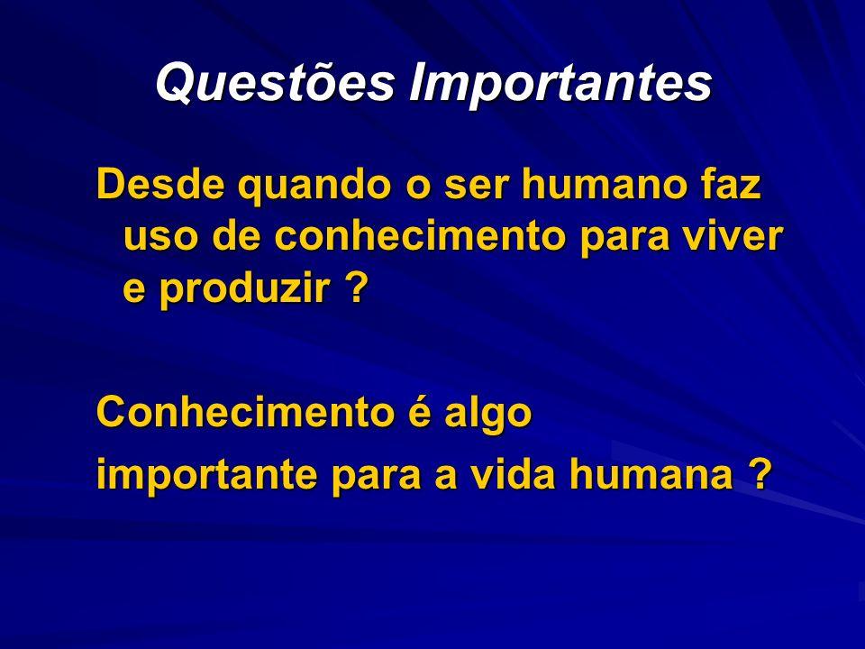Questões Importantes Desde quando o ser humano faz uso de conhecimento para viver e produzir Conhecimento é algo.