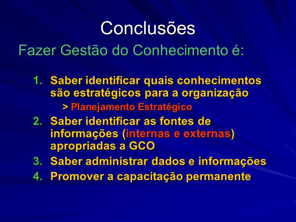 Conclusões Fazer Gestão do Conhecimento é: