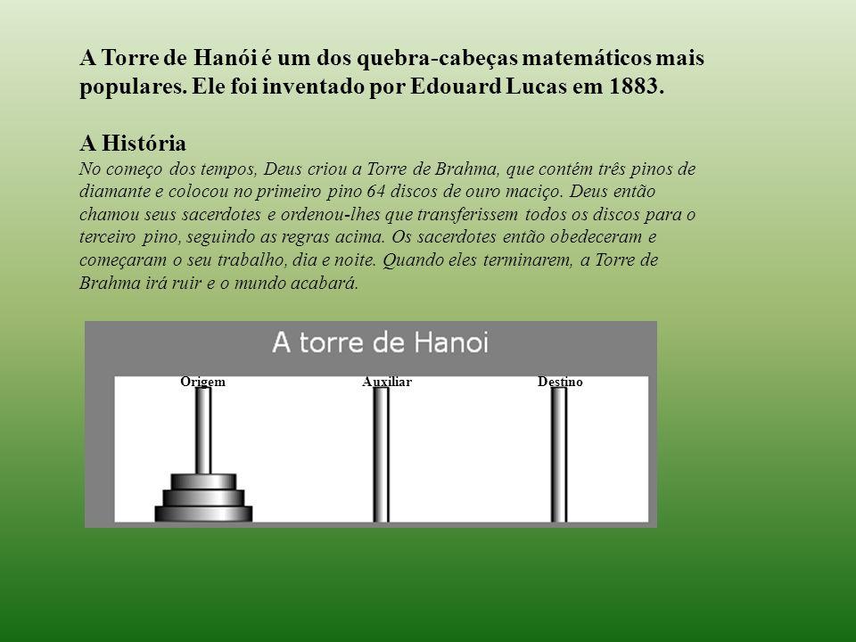 A Torre de Hanói é um dos quebra-cabeças matemáticos mais populares