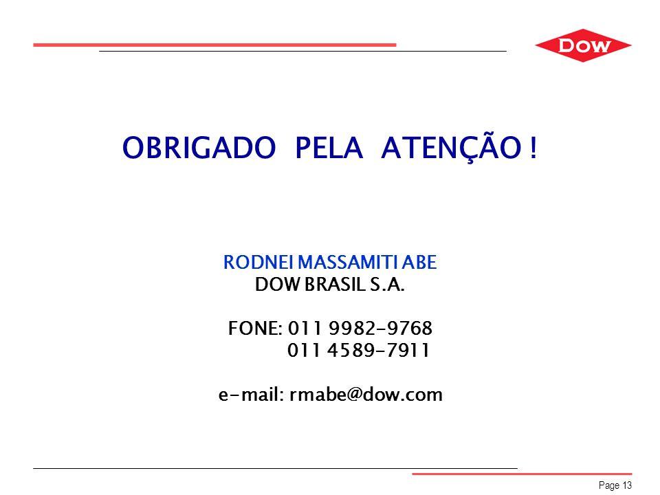 OBRIGADO PELA ATENÇÃO ! RODNEI MASSAMITI ABE DOW BRASIL S.A.