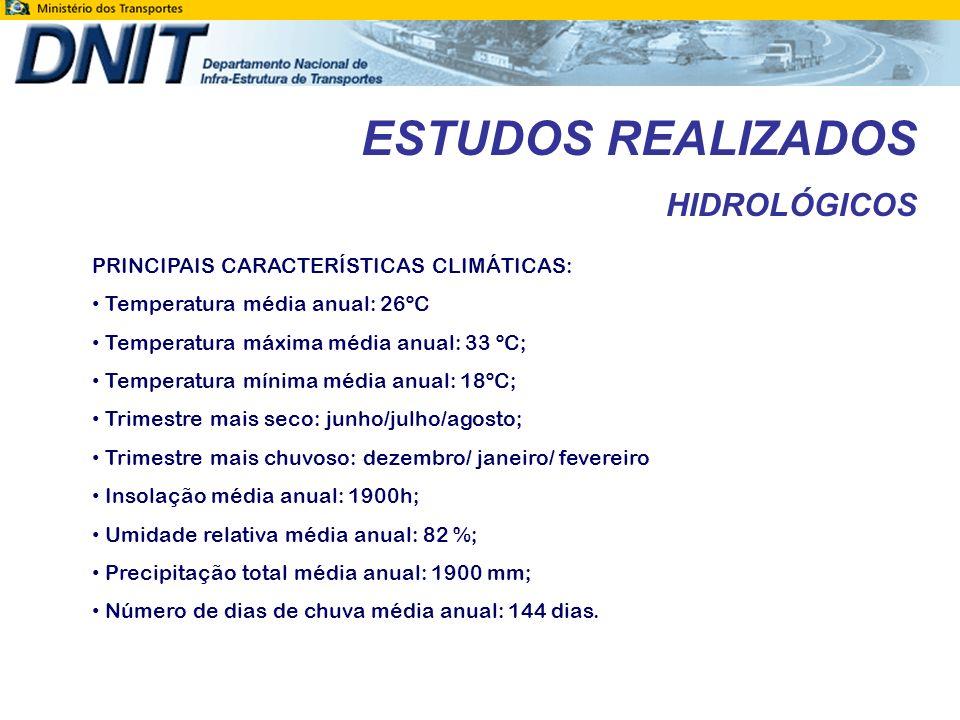 ESTUDOS REALIZADOS HIDROLÓGICOS PRINCIPAIS CARACTERÍSTICAS CLIMÁTICAS: