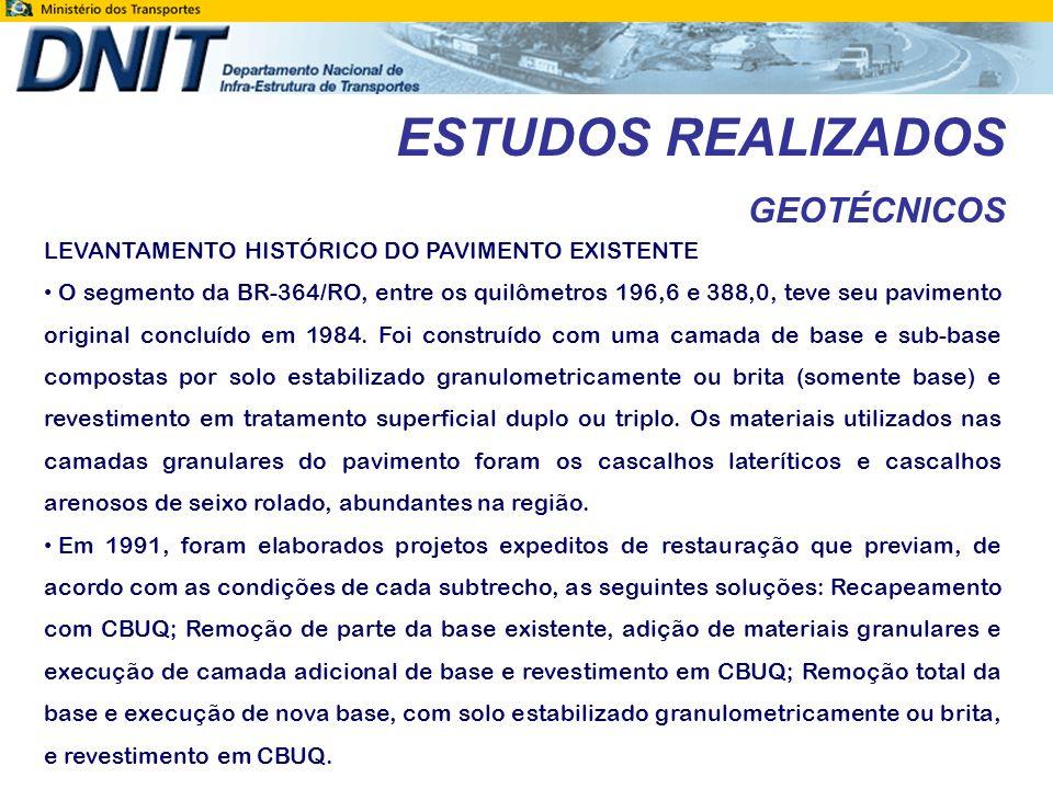 ESTUDOS REALIZADOS GEOTÉCNICOS
