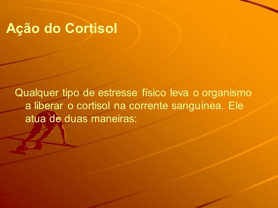 Ação do Cortisol Qualquer tipo de estresse físico leva o organismo a liberar o cortisol na corrente sanguínea.