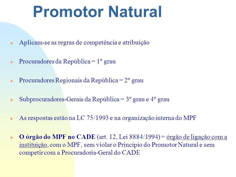 Promotor Natural Aplicam-se as regras de competência e atribuição