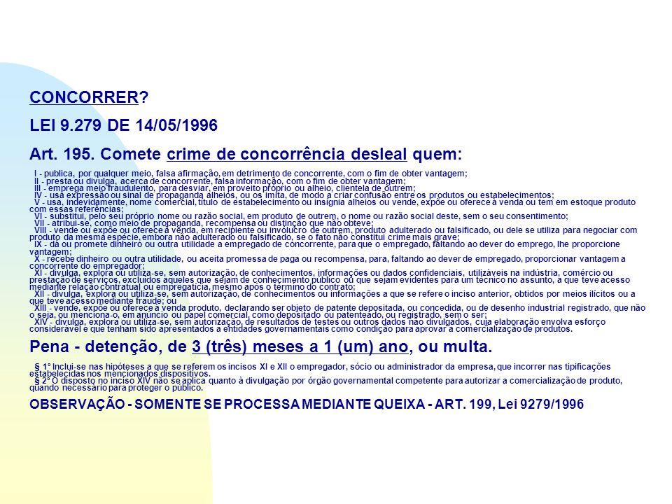 CONCORRER. LEI 9.279 DE 14/05/1996 Art. 195.