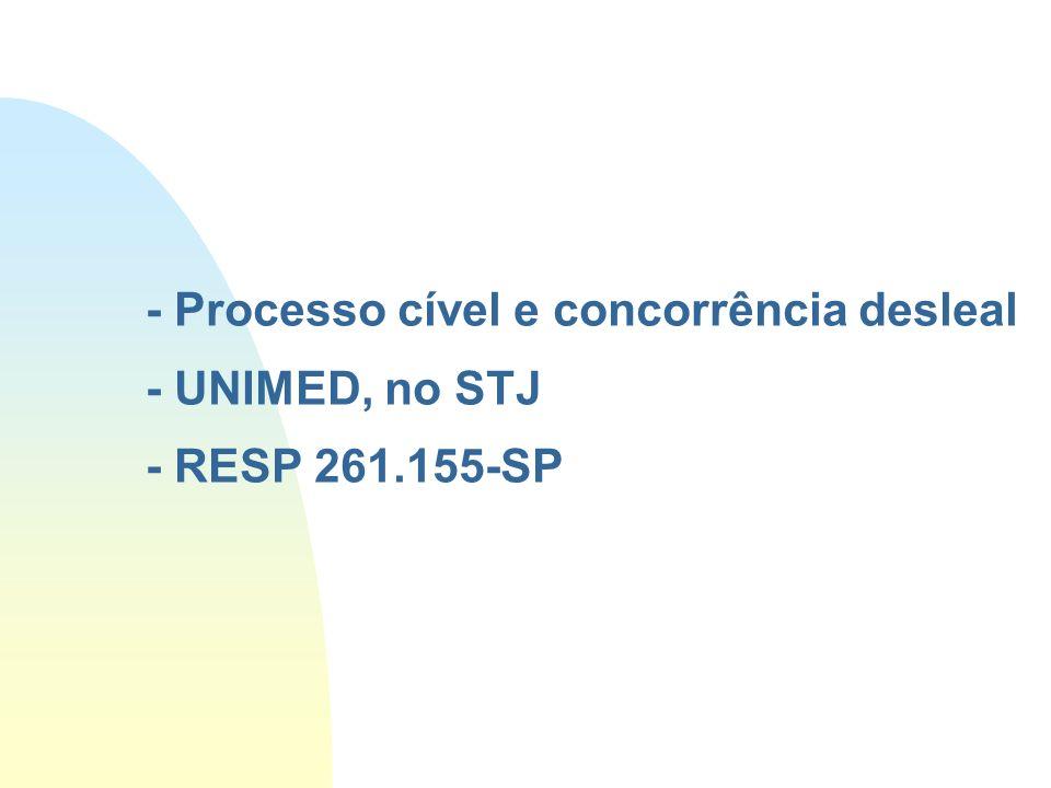 - Processo cível e concorrência desleal - UNIMED, no STJ - RESP 261