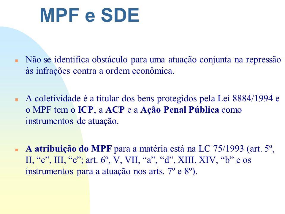 MPF e SDE Não se identifica obstáculo para uma atuação conjunta na repressão às infrações contra a ordem econômica.