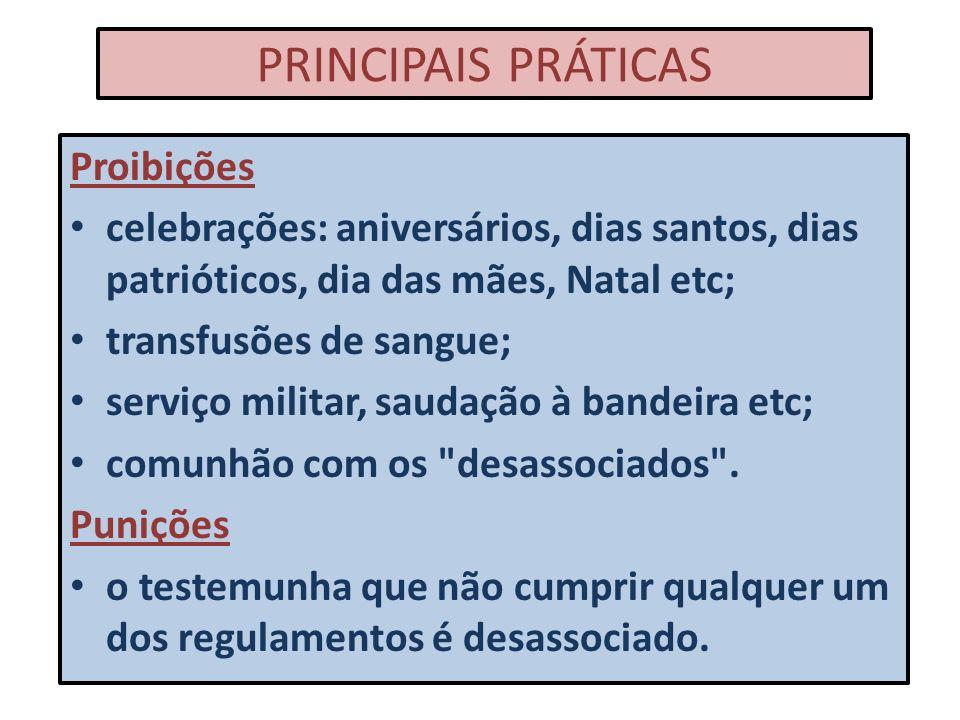 PRINCIPAIS PRÁTICAS Proibições