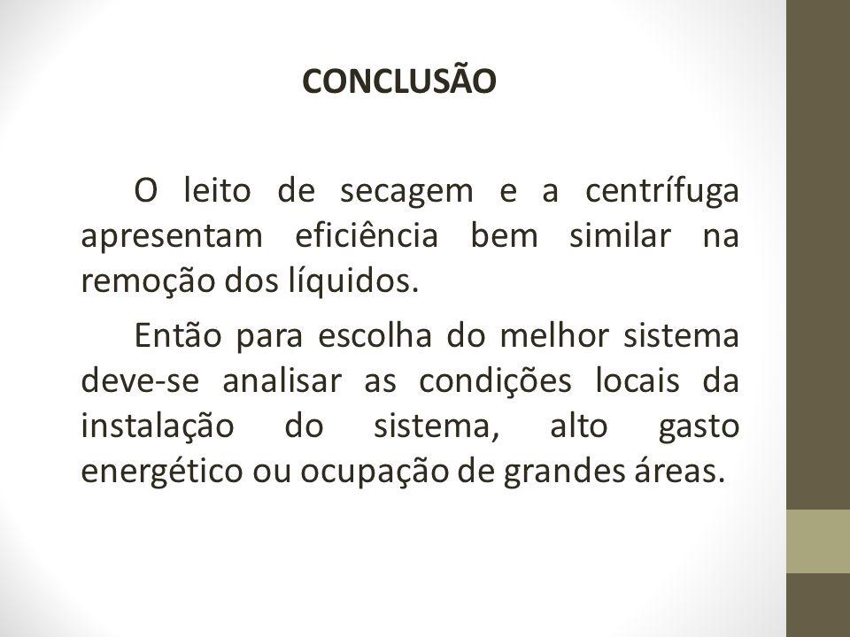 CONCLUSÃO O leito de secagem e a centrífuga apresentam eficiência bem similar na remoção dos líquidos.