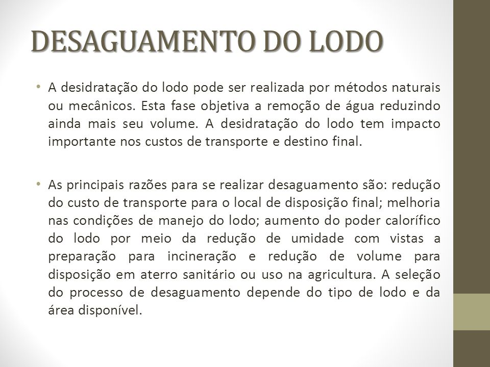 DESAGUAMENTO DO LODO
