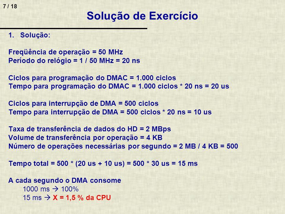 Solução de Exercício Solução: Freqüência de operação = 50 MHz