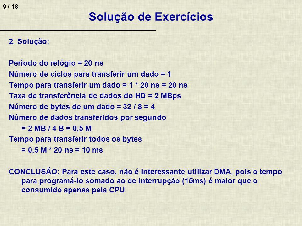 Solução de Exercícios 2. Solução: Período do relógio = 20 ns