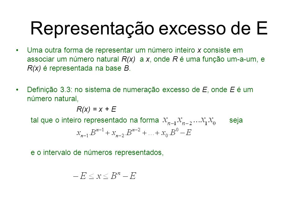 Representação excesso de E