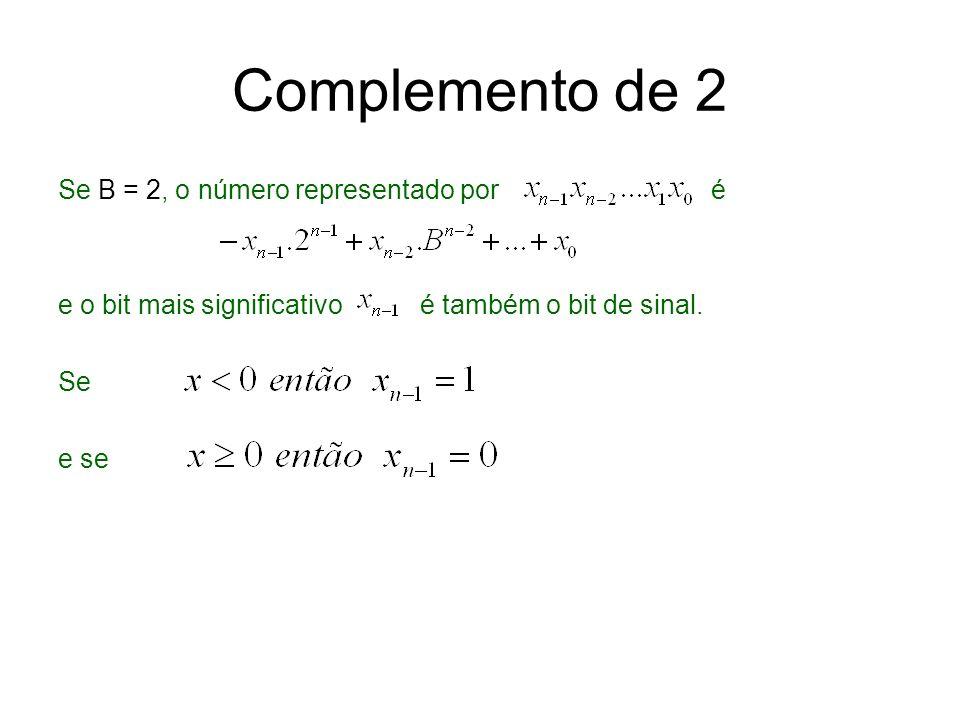 Complemento de 2 Se B = 2, o número representado por é