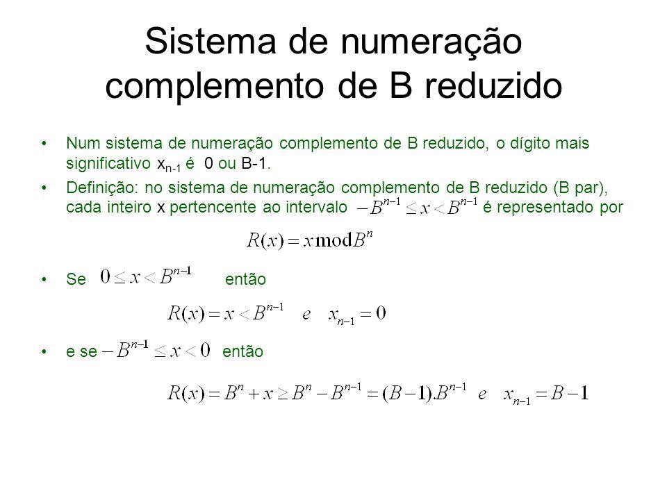 Sistema de numeração complemento de B reduzido