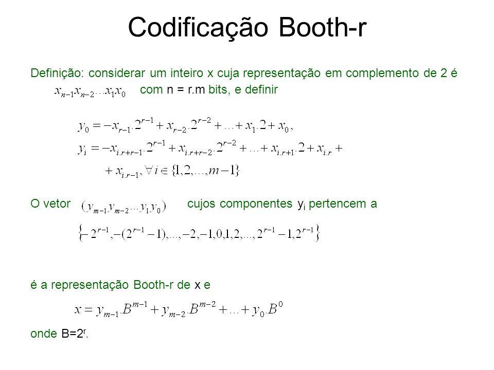 Codificação Booth-r Definição: considerar um inteiro x cuja representação em complemento de 2 é. com n = r.m bits, e definir.