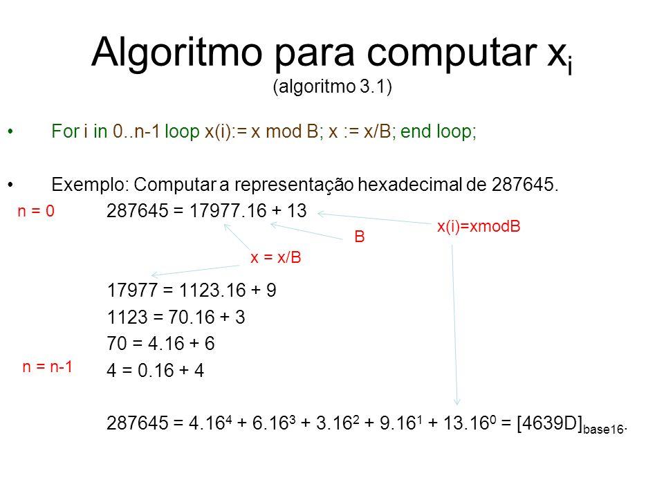 Algoritmo para computar xi (algoritmo 3.1)