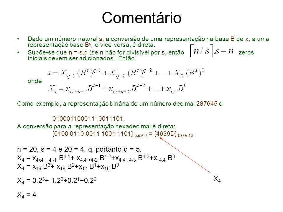 Comentário n = 20, s = 4 e 20 = 4. q, portanto q = 5.