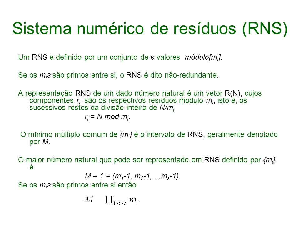 Sistema numérico de resíduos (RNS)