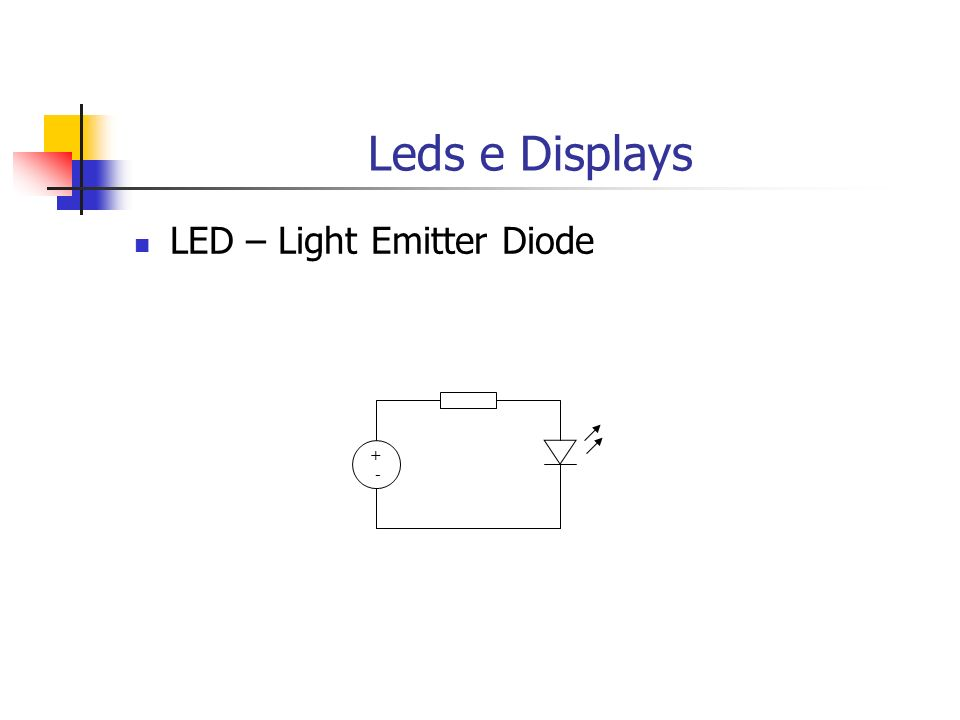 Leds e Displays LED – Light Emitter Diode + -
