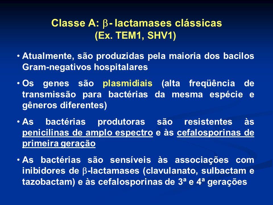 Classe A: - lactamases clássicas