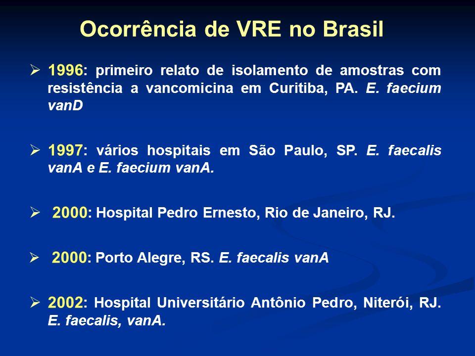 Ocorrência de VRE no Brasil
