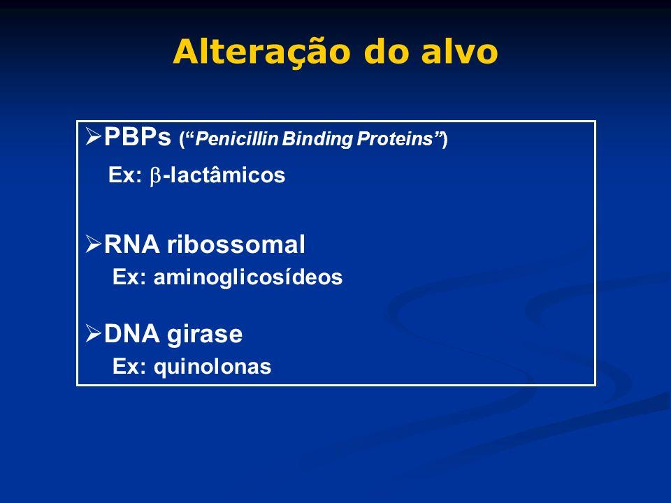 Alteração do alvo PBPs ( Penicillin Binding Proteins ) RNA ribossomal
