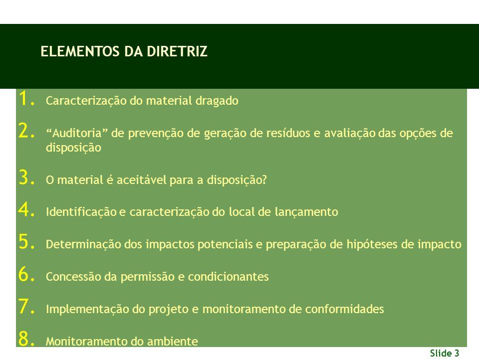 ELEMENTOS DA DIRETRIZ Caracterização do material dragado