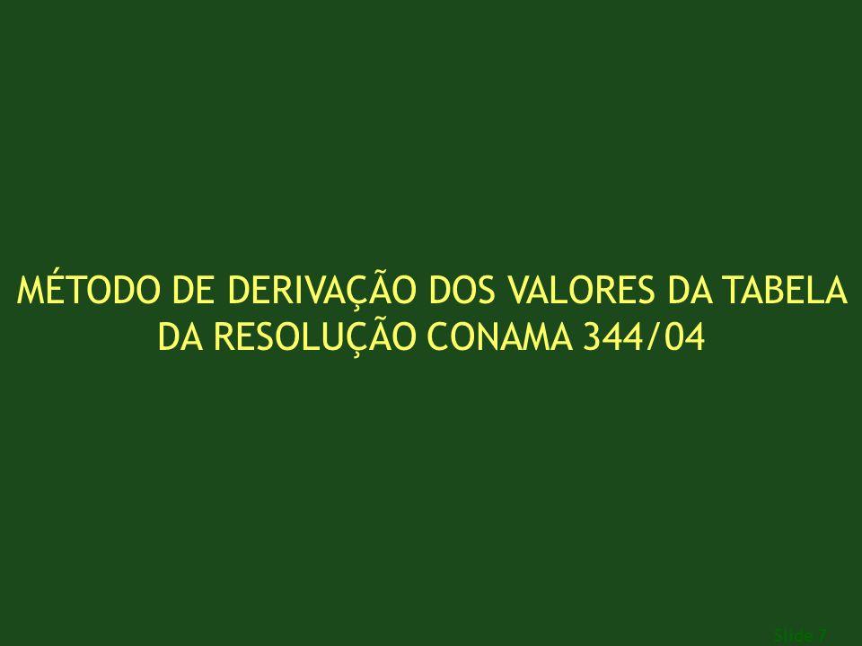 MÉTODO DE DERIVAÇÃO DOS VALORES DA TABELA DA RESOLUÇÃO CONAMA 344/04