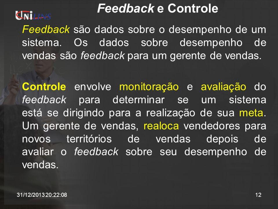 Feedback e Controle Feedback são dados sobre o desempenho de um sistema. Os dados sobre desempenho de vendas são feedback para um gerente de vendas.