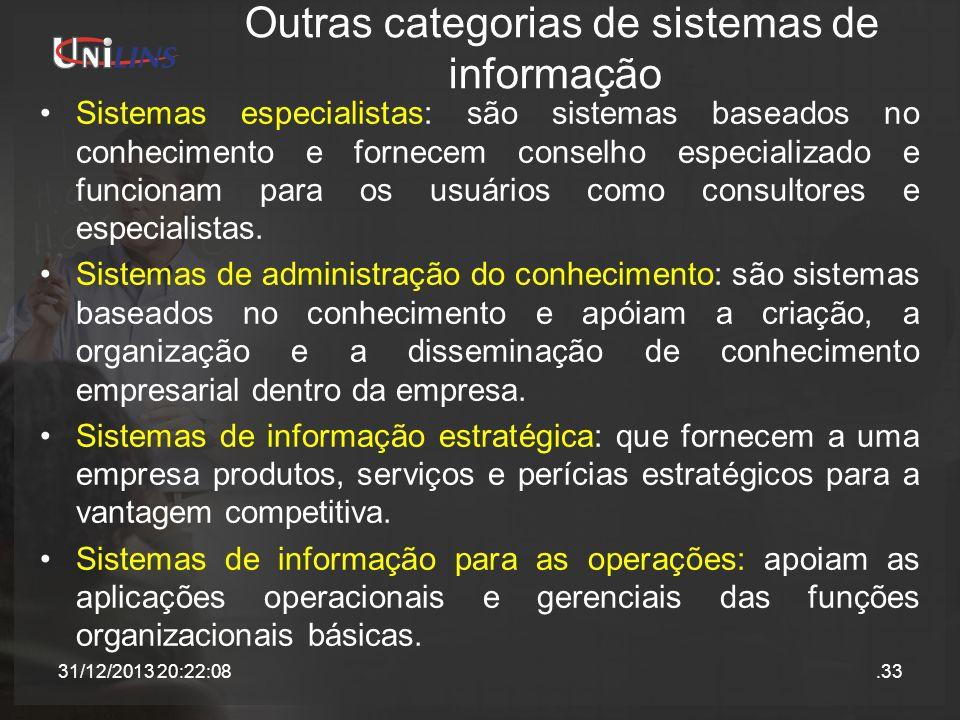 Outras categorias de sistemas de informação