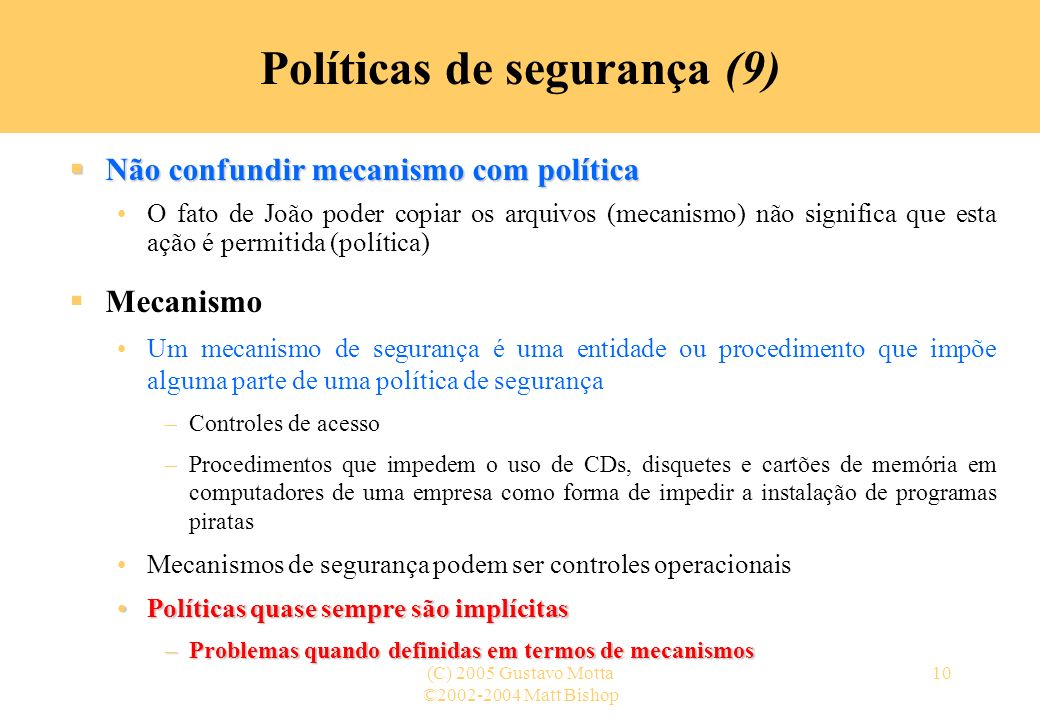 Políticas de segurança (9)
