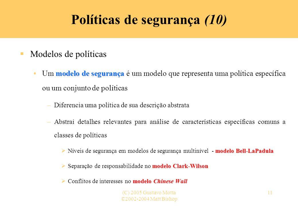 Políticas de segurança (10)