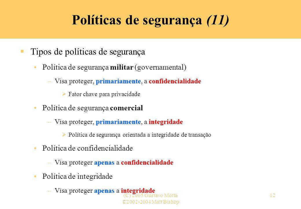 Políticas de segurança (11)
