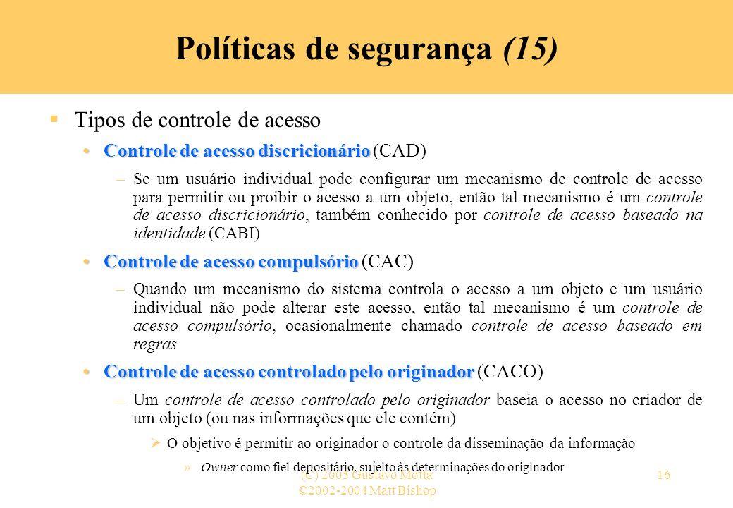 Políticas de segurança (15)